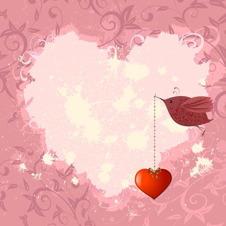 Valentine floral con un ave Ilustración de vector