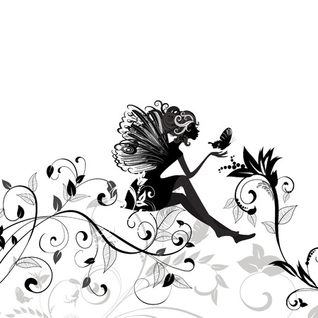fairy on the pattern of a butterfly Stock Vector - 9019750