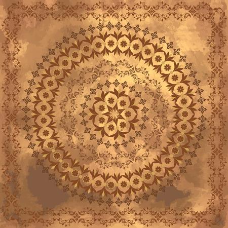 arabic frame: arabesques on the old grunge background Illustration