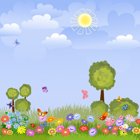 cartoon spring: summer landscape with flowers