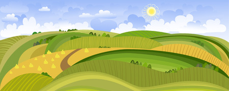 Summer Landscape Panorama Vector