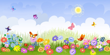 butterfly ladybird: flower meadow panorama Illustration