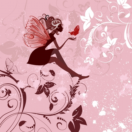 fairy silhouette: fairy pattern grunge Illustration