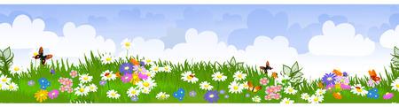 border seamless flower fields Vector