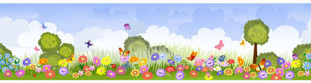 paysage dessin anim�: champs de fleurs sans soudure de fronti�re