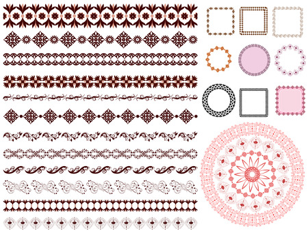 arabesque pattern: conjunto de borde de marco de patr�n arabesque