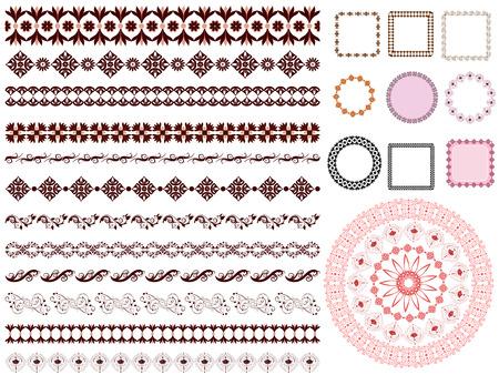 set of arabesque pattern frame border Stock Vector - 8753369