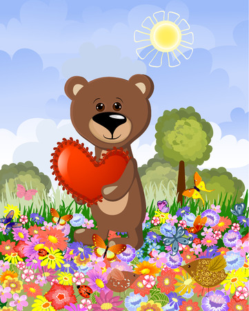 Bear in love on the lawn Vector