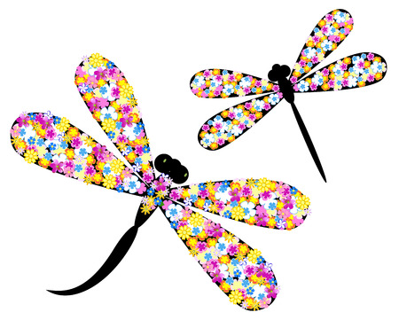 Dragonfly in flowers Vector