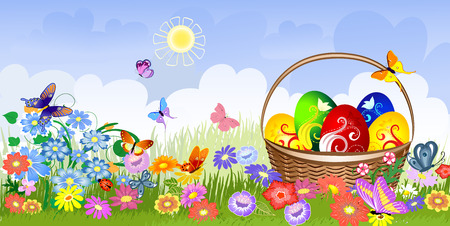Easter basket on the lawn Stock Vector - 8753391