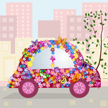 Hilarious car in the city Stock Vector - 8753389