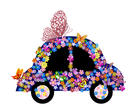 whimsical: Bright floral car