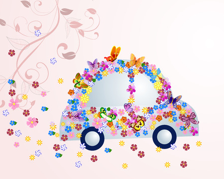 Romantic floral car with butterflies Vector