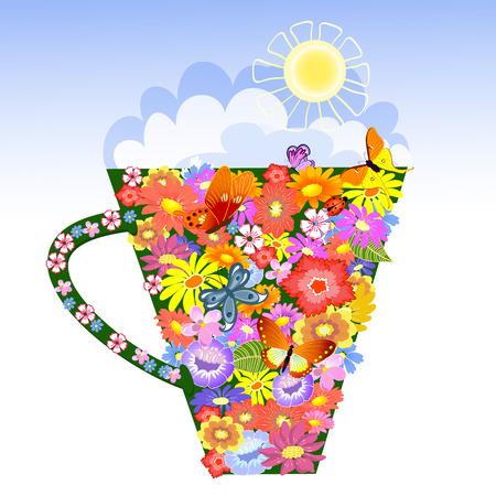 red cup: Flower Mug