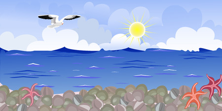 beach panorama: Panorama of the beach with seagulls