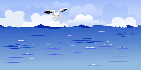 Panorama of the ocean with a soaring gull Vector