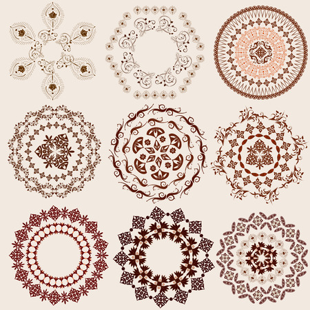 arabic frame: arabesque pattern set Illustration