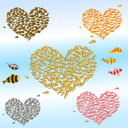 set of valentines from the fish Stock Vector - 8884085