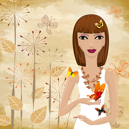 girl with a butterfly on the background grunge papyrus Vector