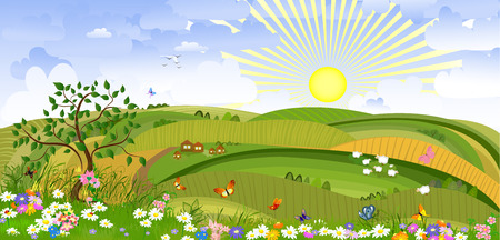 Country Landscape Stock Vector - 8884084