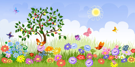flowers cartoon: Summer landscape with fruit trees