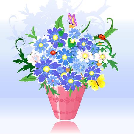 flowers in pink pot Vector