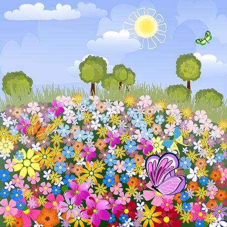 beaux paysages: A�rodrome de fleur Illustration