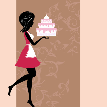 pastries: girl with cake Illustration