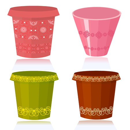 terracotta: Flower pots decorated