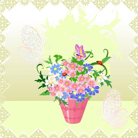 Spring bouquet in a vase Vector