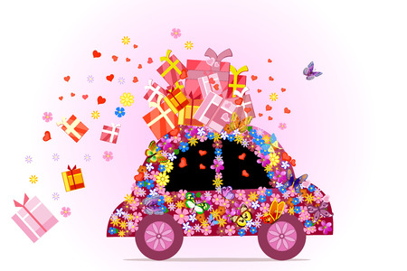 car full of gifts Vector
