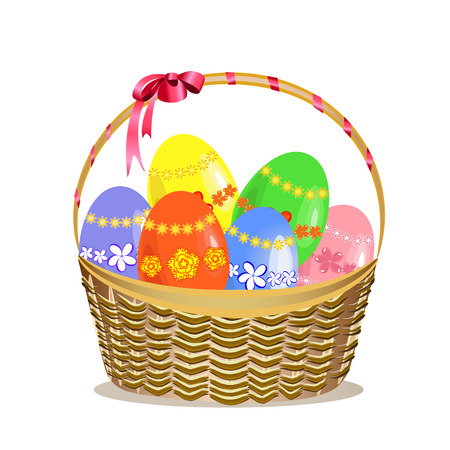colored eggs: Easter basket