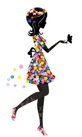 tekening vlinder: Bloemenmeisje met vlinder Stock Illustratie