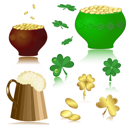 beer, pot, gold, clover Vector