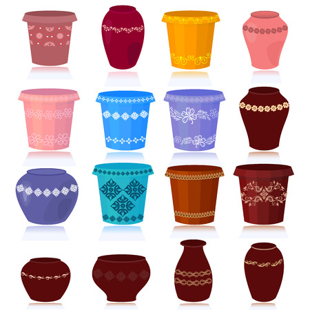 planter: set of decorative flower pots Illustration