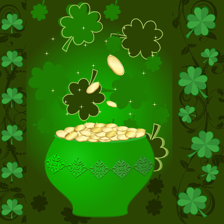 pot of gold and clover Stock Vector - 8960014