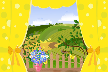 window curtains: window overlooking the rural landscape Illustration