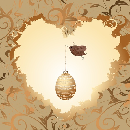 golden egg in the heart of a bird Vector