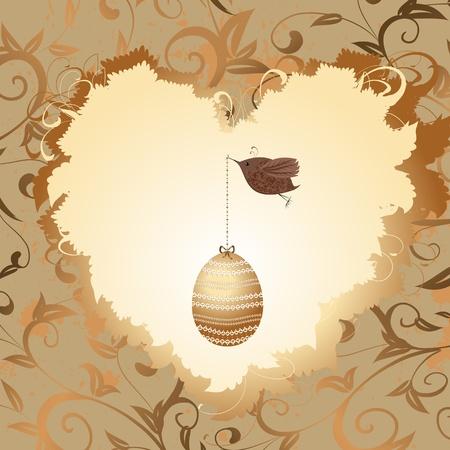 precious: golden egg in the heart of a bird