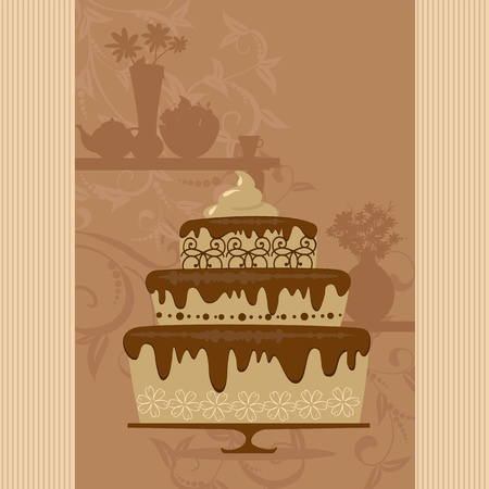 chocolate cake in a candy store Vector