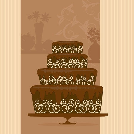 chocolate cake in a candy store Stock Vector - 9002353