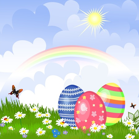 easter decorations: Easter eggs in the meadow