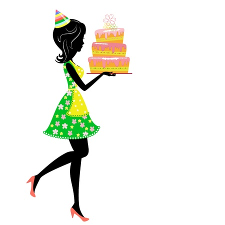 cartoon cake: Girl with birthday cake