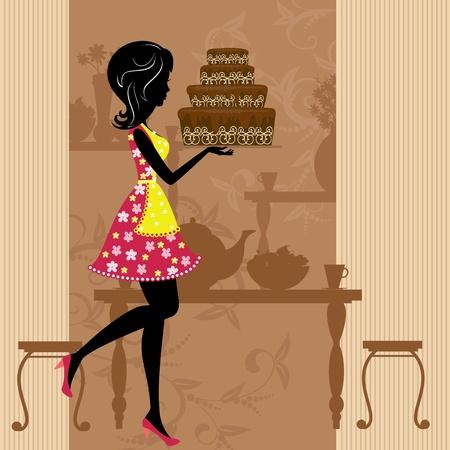 Girl with chocolate cake Stock Vector - 9002358