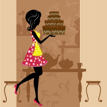 torta panna: Ragazza con la torta al cioccolato Vettoriali