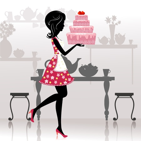 Girl with a romantic cake Vector