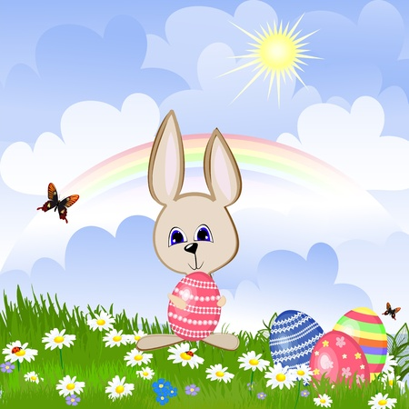 Rabbit with Easter eggs on lawn Vector