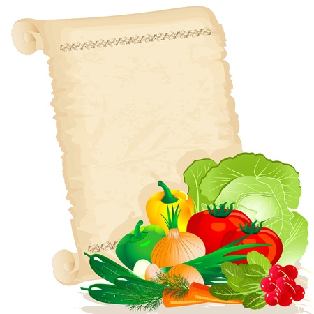 vegetables on papyrus Vector