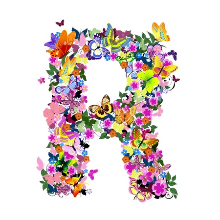 Pattern letter of butterflies and flowers Stock Vector - 9072575