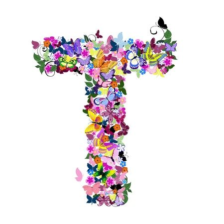 cheery: Pattern letter of butterflies and flowers